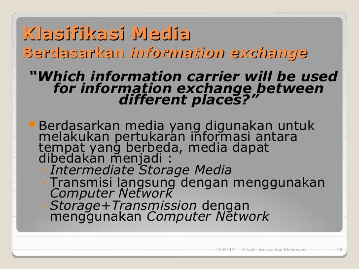 "Klasifikasi MediaBerdasarkan information exchange""Which information carrier will be used  for information exchange between..."