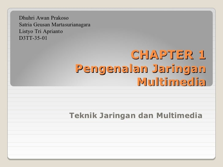 Dhuhri Awan PrakosoSatria Geusan MartasurianagaraListyo Tri ApriantoD3TT-35-01                                  CHAPTER 1 ...