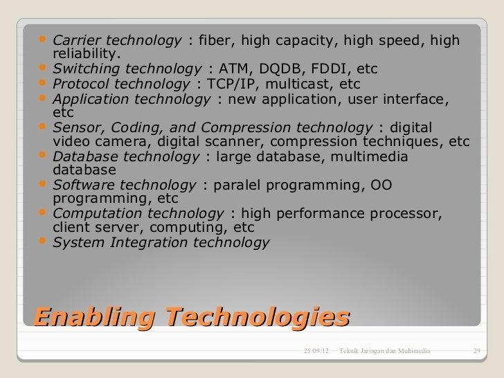 Carrier technology : fiber, high capacity, high speed, high  reliability. Switching technology : ATM, DQDB, FDDI, etc ...