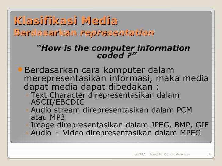 """Klasifikasi MediaBerdasarkan representation    """"How is the computer information                 coded ?""""Berdasarkan cara ..."""