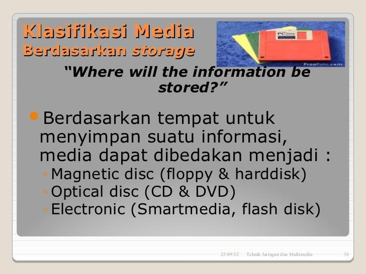 """Klasifikasi MediaBerdasarkan storage    """"Where will the information be               stored?""""Berdasarkan  tempat untuk  m..."""