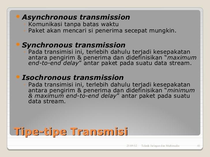  Asynchronous transmission  ◦ Komunikasi tanpa batas waktu  ◦ Paket akan mencari si penerima secepat mungkin. Synchronou...