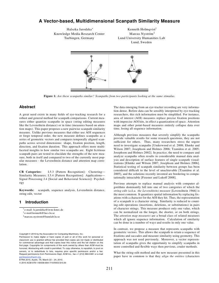 A Vector-based, Multidimensional Scanpath Similarity Measure                                             Halszka Jarodzka∗...