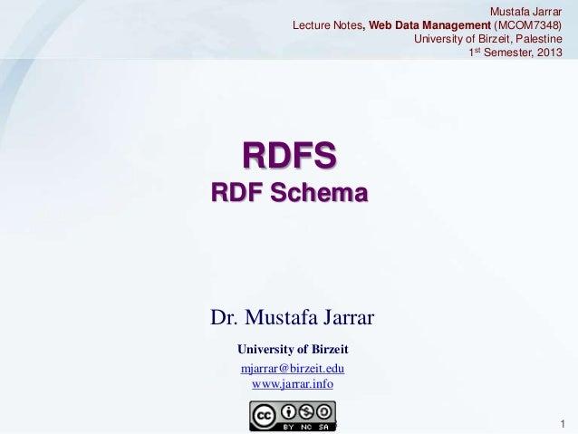 Mustafa Jarrar Lecture Notes, Web Data Management (MCOM7348) University of Birzeit, Palestine 1st Semester, 2013  RDFS RDF...