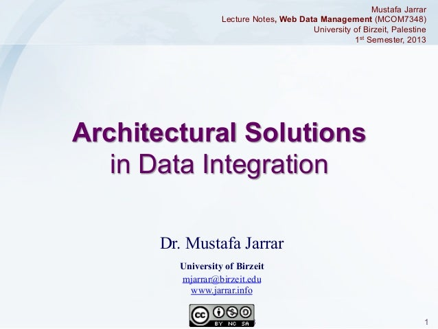Mustafa Jarrar Lecture Notes, Web Data Management (MCOM7348) University of Birzeit, Palestine 1st Semester, 2013  Architec...
