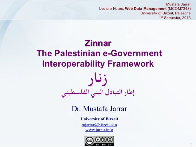 Mustafa Jarrar Lecture Notes, Web Data Management (MCOM7348) University of Birzeit, Palestine 1st Semester, 2013  Zinnar T...