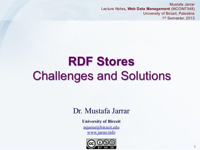 Mustafa Jarrar Lecture Notes, Web Data Management (MCOM7348) University of Birzeit, Palestine 1st Semester, 2013  RDF Stor...