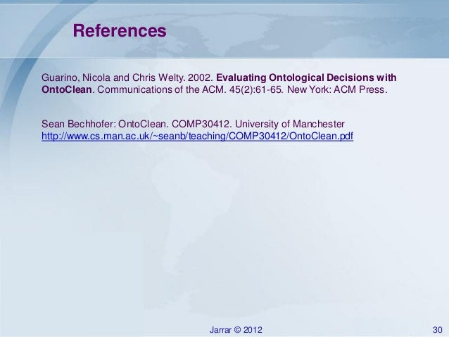 Jarrar ontology modeling using ontoclean methodology for University of manchester powerpoint template