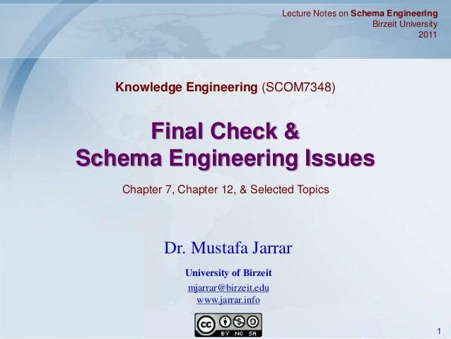Jarrar © 2011 1 Final Check & Schema Engineering Issues Lecture Notes on Schema Engineering Birzeit University 2011 Dr. Mu...