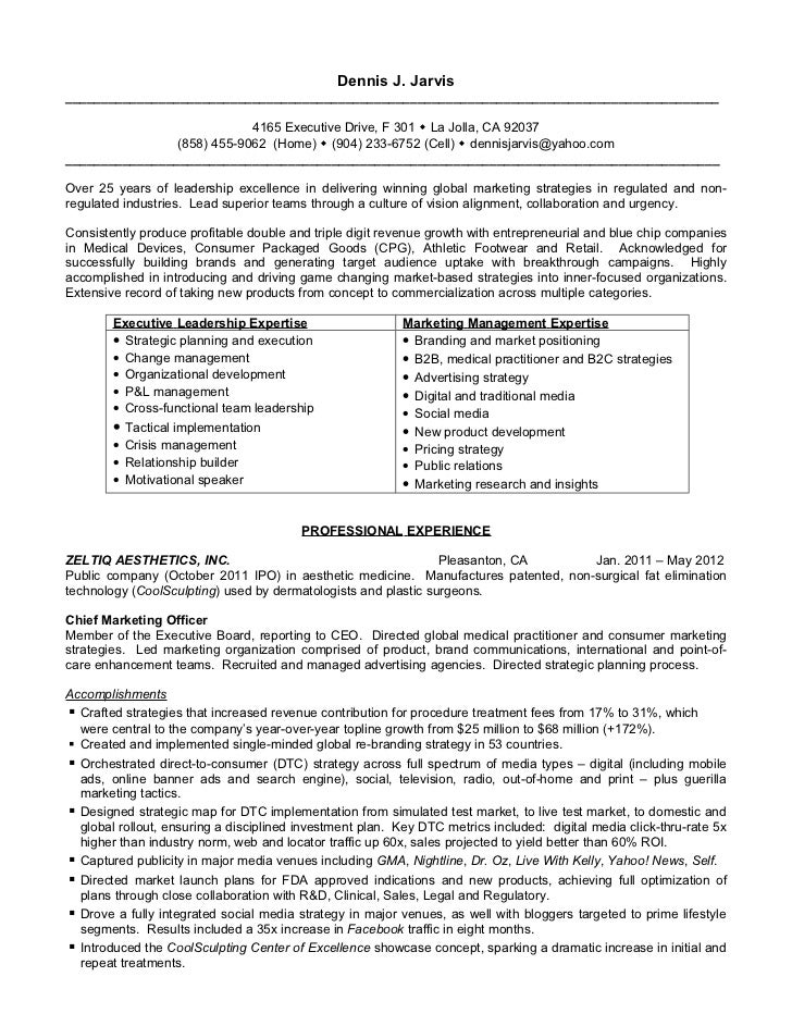 Ceo Resume Doc. Jarvis Dennis J Resume Doc Format September 2012