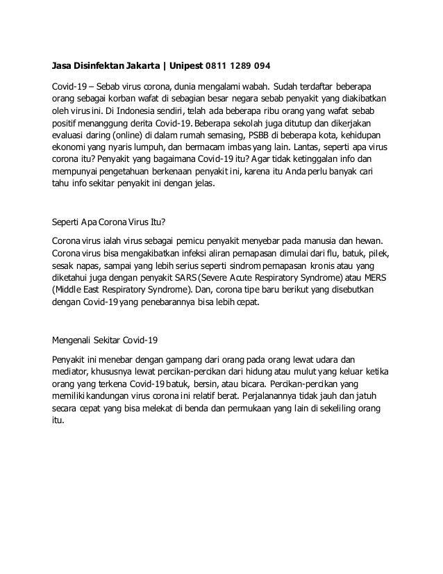 Jasa Disinfektan Jakarta | Unipest 0811 1289 094 Covid-19 – Sebab virus corona, dunia mengalami wabah. Sudah terdaftar beb...