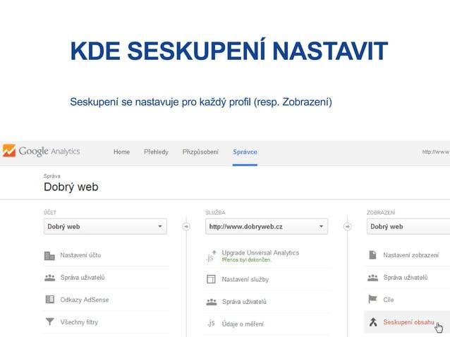 KDE SESKUPENÍ NASTAVIT Seskupení se nastavuje pro každý profil (resp. Zobrazení)