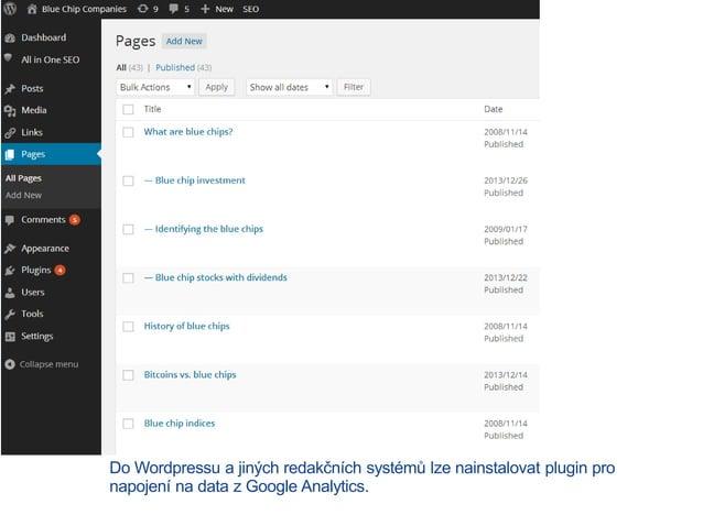 Do Wordpressu a jiných redakčních systémů lze nainstalovat plugin pro napojení na data z Google Analytics.