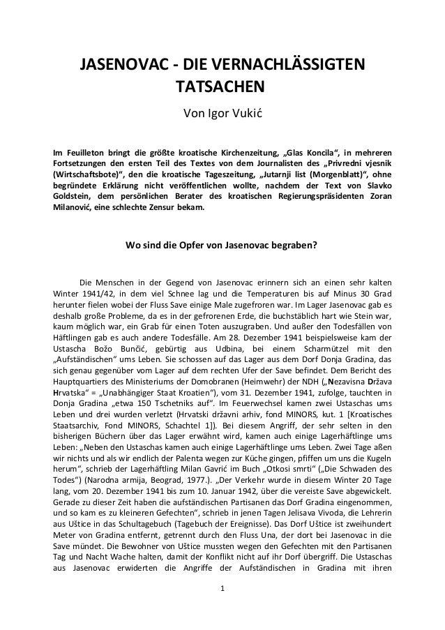 """JASENOVAC - DIE VERNACHLÄSSIGTENTATSACHENVon Igor VukićIm Feuilleton bringt die größte kroatische Kirchenzeitung, """"Glas Ko..."""