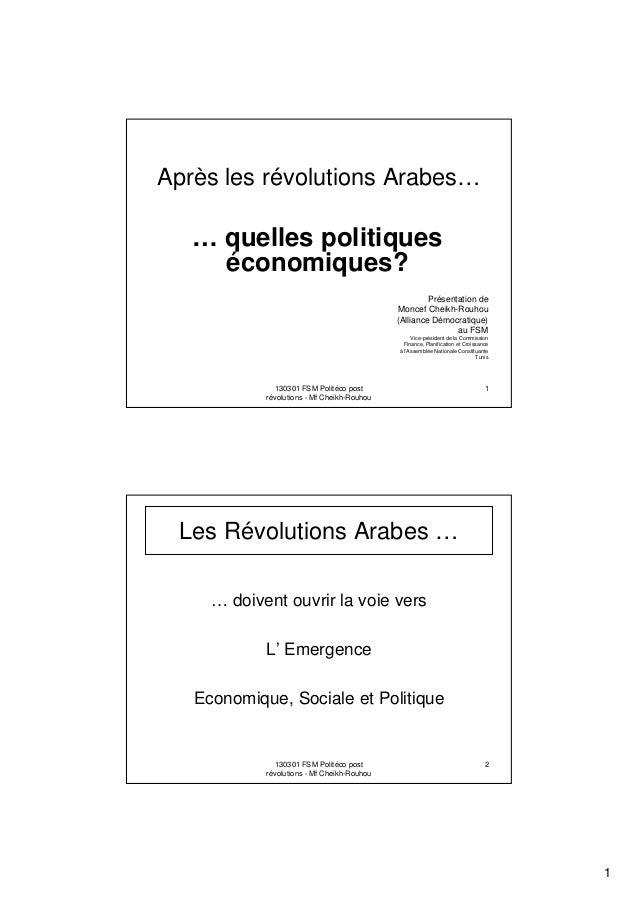 Après les révolutions Arabes…  … quelles politiques économiques? Présentation de Moncef Cheikh-Rouhou (Alliance Démocratiq...
