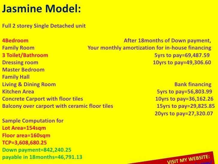 Jasmine Model:Full 2 storey Single Detached unit4Bedroom                                       After 18months of Down paym...