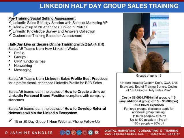 Jasmine Sandler Linkedin Sales Trainer Linkedin Sales Training Progr