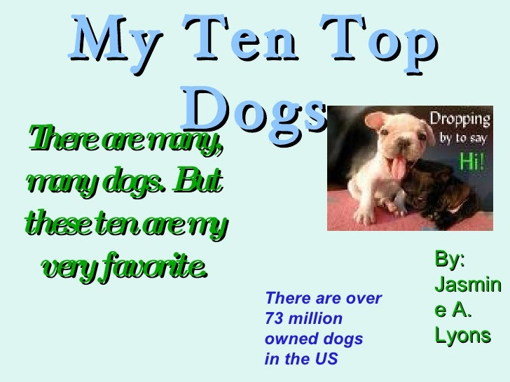 My Ten Top Dogs There are many, many dogs. But these ten are my very favorite. There are over 73 million owned dogs in the...