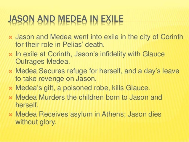 an analysis of the the character medea and jason in the play medea Matic world of corinth and those characters prominent in it, ie medea, jason and image of medea in this play b literary criticism in euripides' medea 53.