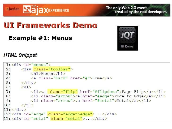 UI Frameworks Demo   Example #1: Menus