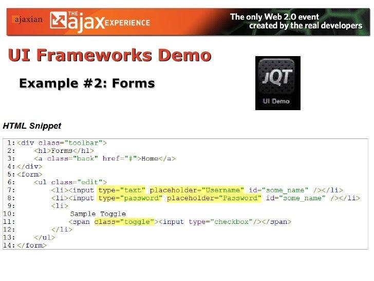 UI Frameworks Demo   Example #2: Forms