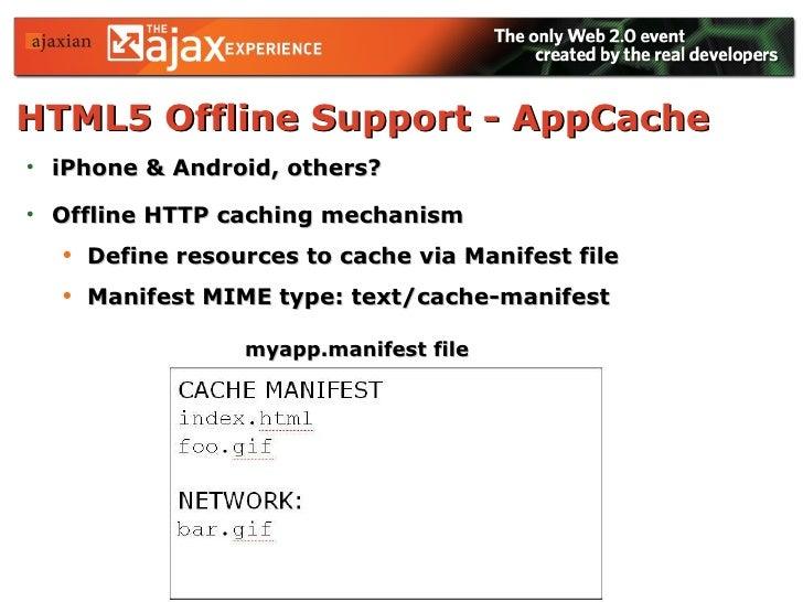 HTML5 Offline Support - AppCache   <ul><li>iPhone & Android, others?  </li></ul><ul><li>Offline HTTP caching mechanism </...