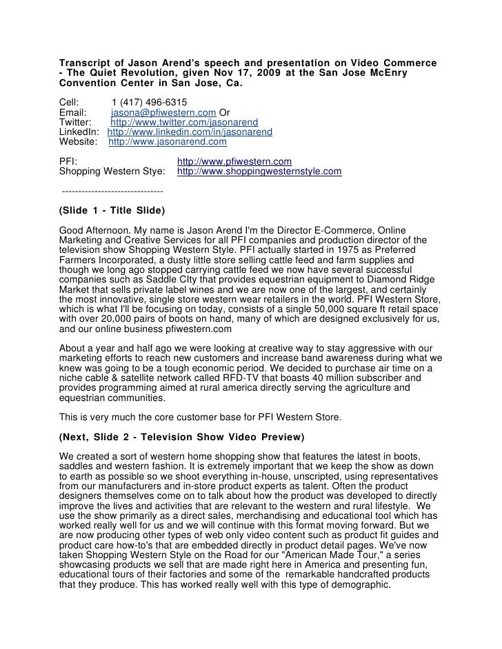 Transcript of Jason Arend's speech and presentation on Video Commerce - The Quiet Revolution, given Nov 17, 2009 at the Sa...