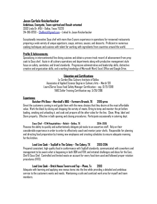 Free Sample Sous Chef Resume