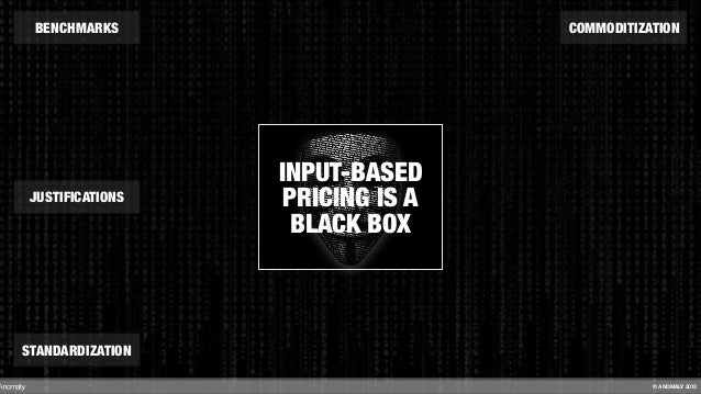 INPUT-BASED PRICING IS A BLACK BOX BENCHMARKS STANDARDIZATION COMMODITIZATION JUSTIFICATIONS © ANOMALY 2013