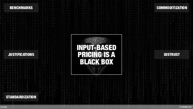 INPUT-BASED PRICING IS A BLACK BOX BENCHMARKS STANDARDIZATION DISTRUST COMMODITIZATION JUSTIFICATIONS © ANOMALY 2013