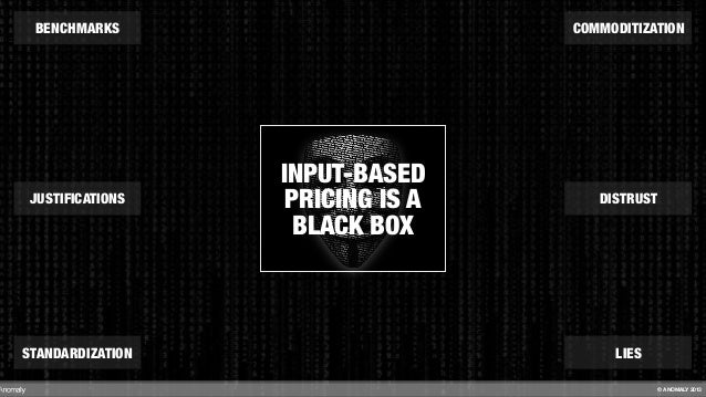 INPUT-BASED PRICING IS A BLACK BOX BENCHMARKS STANDARDIZATION DISTRUST COMMODITIZATION JUSTIFICATIONS LIES © ANOMALY 2013