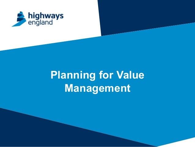 Planning for Value Management