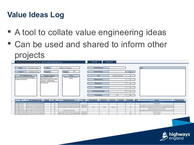  A tool to collate value engineering ideas  Can be used and shared to inform other projects Value Ideas Log