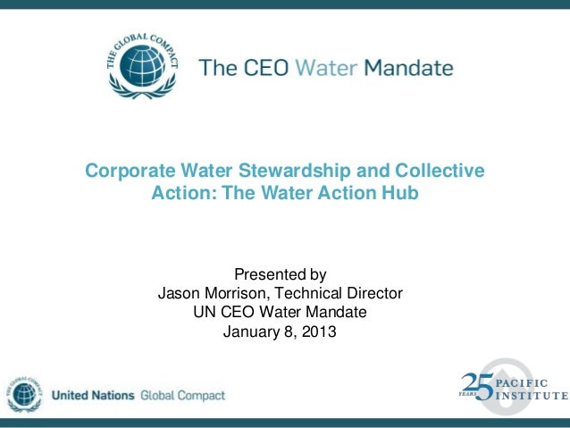 Corporate Water Stewardship and Collective      Action: The Water Action Hub                Presented by       Jason Morri...