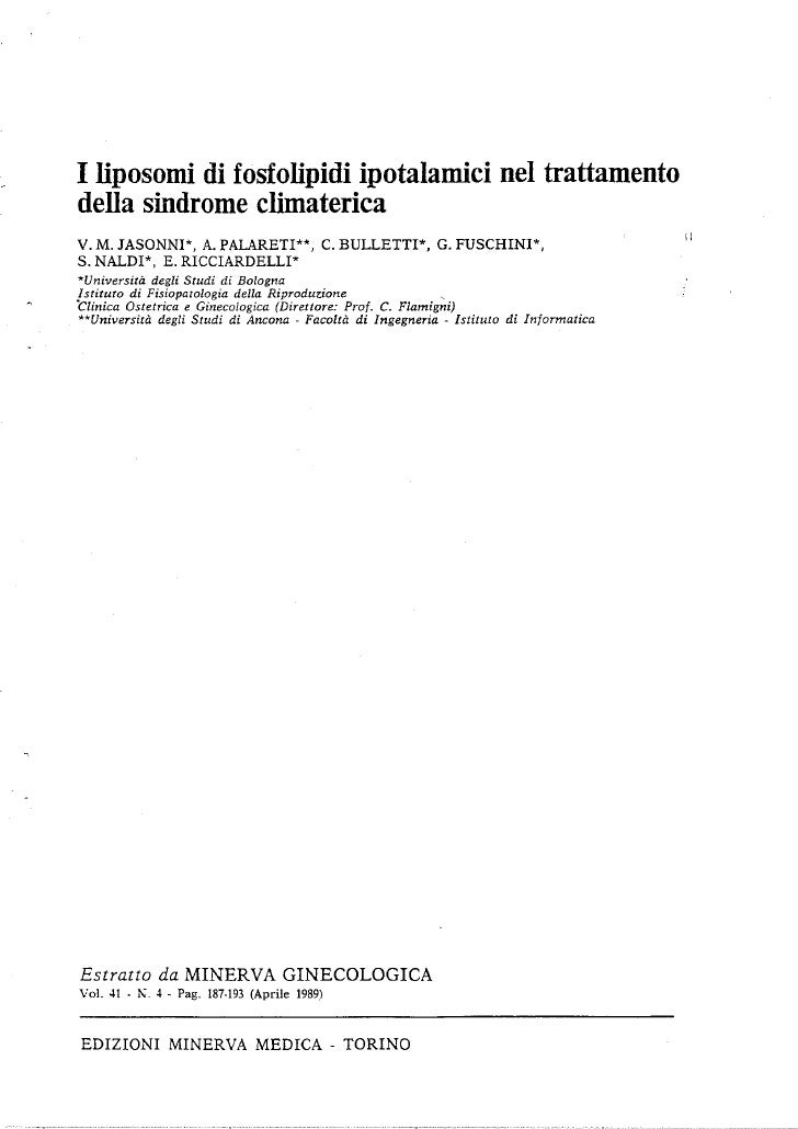 I liposomi di fosfolipidi ipotalamici nel trattamento della sindrome climaterica