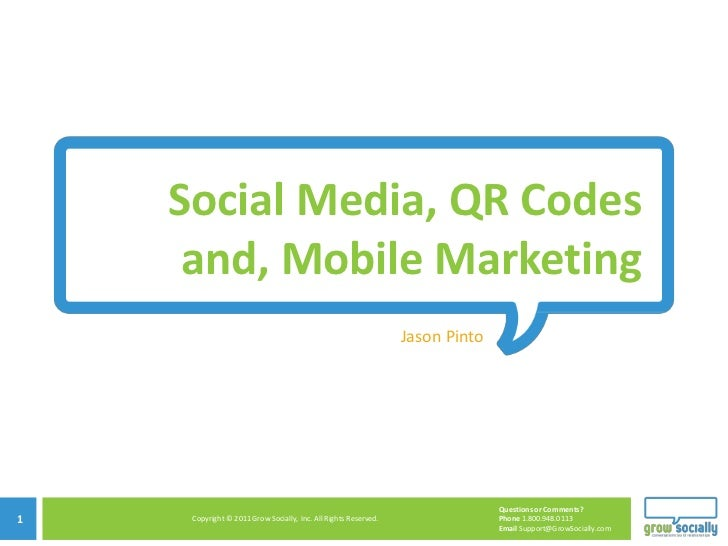 Social Media, QR Codes     and, Mobile Marketing                                                                    Jason ...