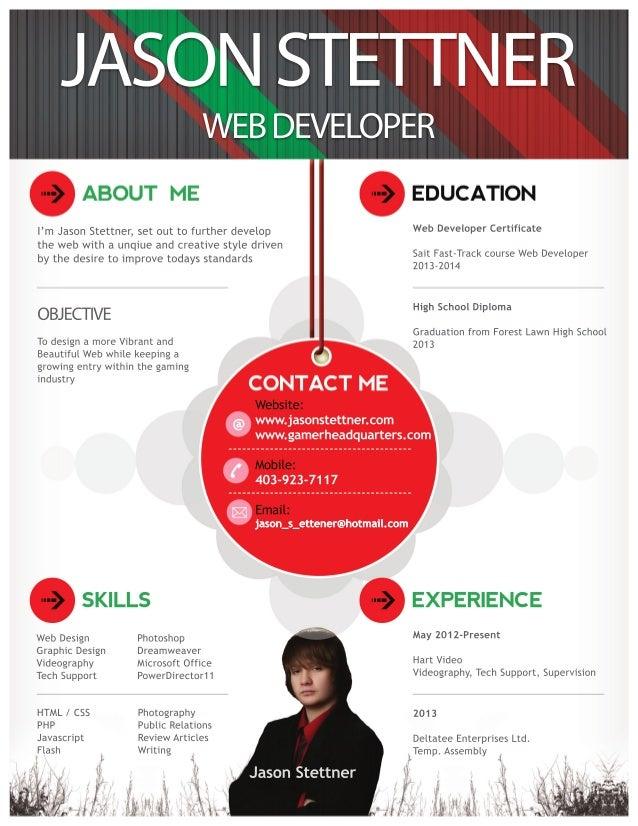 Jason Stettner Web Developer Resume. JS N TTN R AO SET E W B EEO E E D VLPR I JsnSete st u t