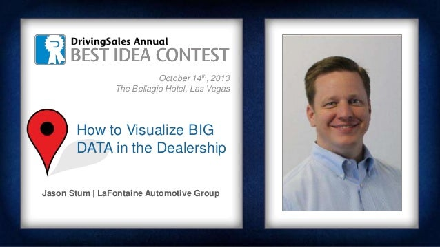 October 14th, 2013 The Bellagio Hotel, Las Vegas Jason Stum | LaFontaine Automotive Group How to Visualize BIG DATA in the...