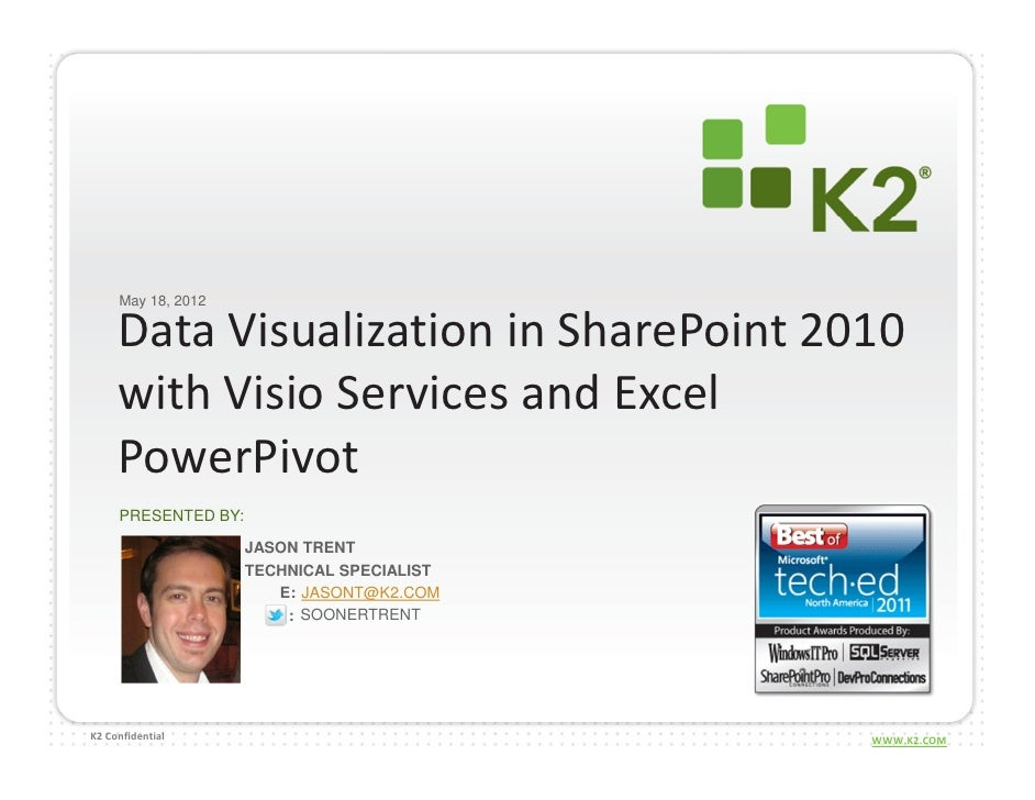 May 18, 2012     Data Visualization in SharePoint 2010     with Visio Services and Excel     PowerPivot     PRESENTED BY: ...
