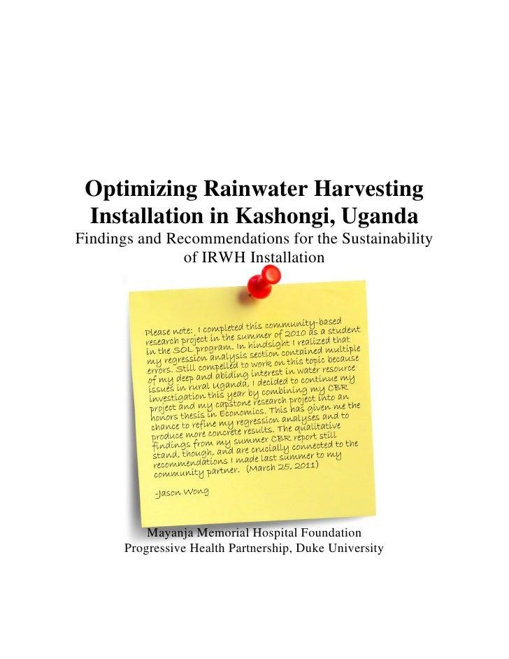Optimizing Rainwater Harvesting Installation in Kashongi, UgandaFindings and Recommendations for the Sustainability       ...