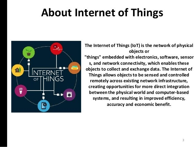 """About Internet of Things 3 The Internet of Things (IoT) is the network of physical objects or """"things"""" embedded with elect..."""