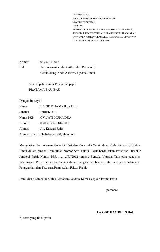 Contoh Surat Pemberitahuan Pembatalan Faktur Pajak Ke Kpp Viral