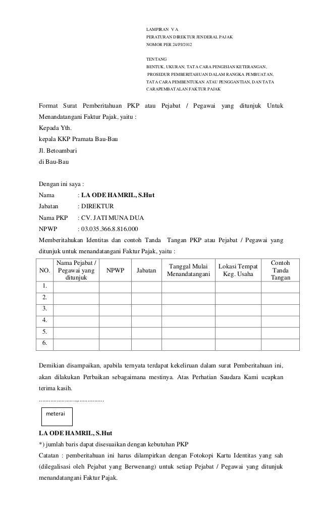 Contoh Surat Pembatalan E Faktur Pajak