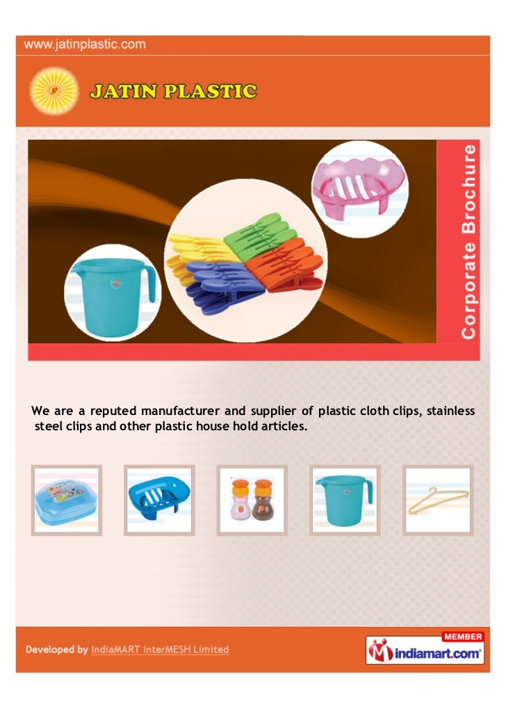 We are a reputed manufacturer and supplier of plastic cloth clips, stainlesssteel clips and other plastic house hold artic...