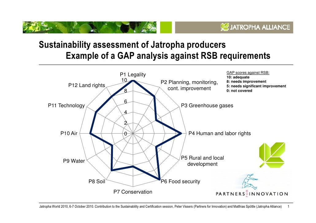Sustainability assessment of Jatropha producers       Example of a GAP analysis against RSB requirements                  ...