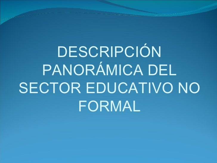 DESCRIPCIÓN PANORÁMICA DEL SECTOR EDUCATIVO NO FORMAL