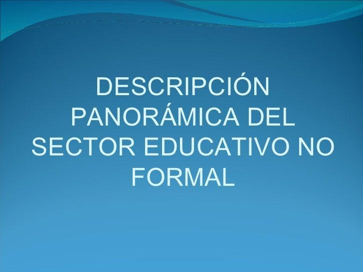 DESCRIPCIÓN PANORÁMICA DEL SECTOR EDUCATIVO NO FORMAL