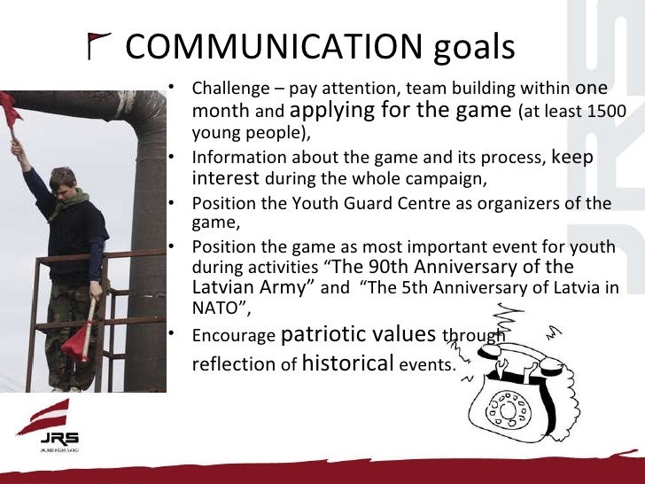 COMMUNICATION goals <ul><li>Challenge – pay attention, team building within  one month  and  applying for the game  (at le...