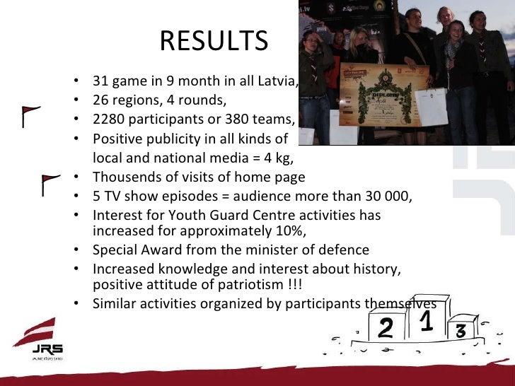 RESULTS <ul><li>31 game in 9 month in all Latvia,  </li></ul><ul><li>26 regions, 4 rounds, </li></ul><ul><li>2280 particip...