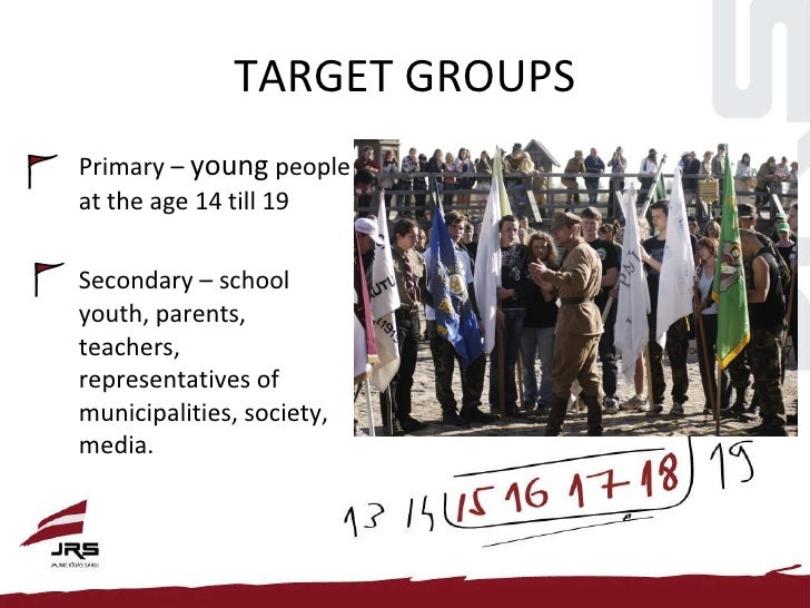 TARGET GROUPS <ul><li>Primary –  young  people at the age 14 till 19 </li></ul><ul><li>Secondary – school youth, parents, ...